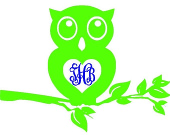 Outdoor vinyl  Owl car monogram, personalized Owl decal, customized car sticker, Adhesive vinyl Owl, vine font monogram