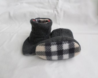 Gray and Plaid Fleece Baby Booties