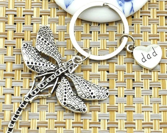 Lovely Dragonfly Keyring Antique Silver Lovely Dragonfly Charm Keychain with Personalized Initial Stamped Dad Keychain--J001559