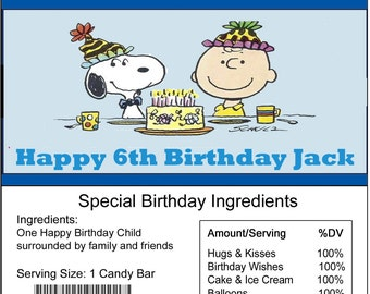 Snoopy Personalized birthday Candy Bar Wrapper