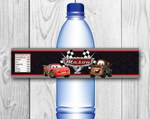 DIGITAL FILE - Cars Bottle Labels - Disney Cars Water Label - Cars Printables - Disney Cars Birthday Party - Cars Wrappers - McQueen label
