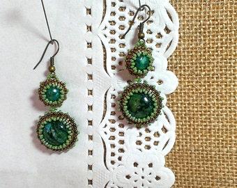 Earrings from beads Handmade jewelry Boho Drop Earrings Victorian style Green Bronze