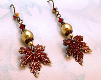 Victorian Style Crimson Maple Leaf and Gold Pearl Earrings