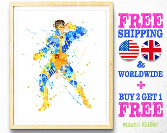 X-Men Prints, Cyclops Prints, Marvel Superhero Print, Wateroclor Art, Kids Decor, Nursery Decor, Home Decor, Wall Art, Christmas Gifts - 117