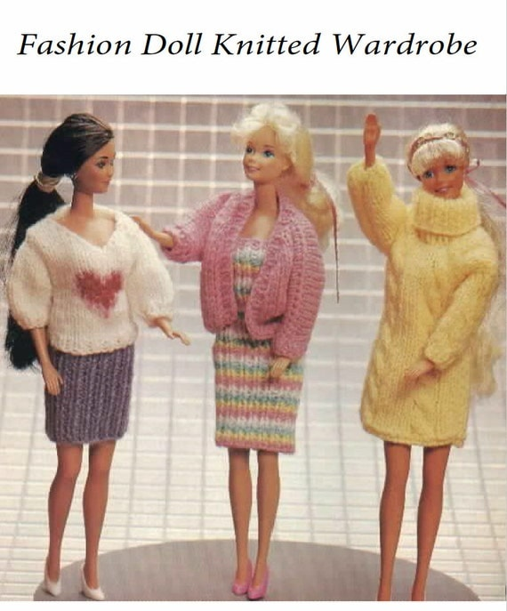 Knitting Patterns For Baby Dolls Clothes Old Style : Barbie Doll knitted outfits Vintage knitting Doll Pattern