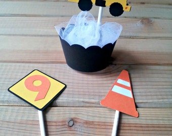 Construction Cupcake Toppers - construction party - party supplies - cake decorations - truck birthday - boys birthday