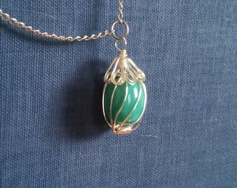 Wrapped Bead Pendant Necklace