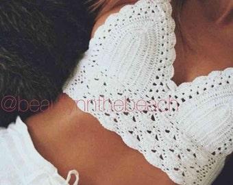 Crotchet lacey white bralette/crop top summer