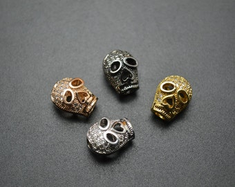 4pc Paved CZ Beads Copper Skull Metal Spacer Loose Beads Gold Color / Black Color / Rhodium Color / Rose Gold Color