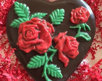 Chocolate Heart Plaque with Roses
