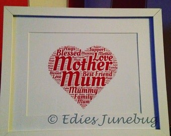 Handmade Mothers Day Gift, Red Love Heart Typography, Home Decor, Free Mothers Day Card, Free Postage, Birthday Gift For Mum
