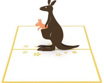 Kangaroos Pop Up Card, Kangaros Card, Kangaroo Mom Pop Up Card, Kangaroo Mom Card, Mother's Day Pop Up Card, Mother's Day Card, Joey,Lovepop