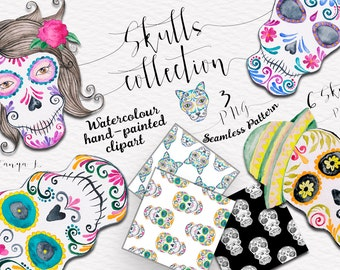 Watercolor Clipart, Skulls Clip Art , Day of the Dead Clipart, Commercial Use Clipart,  Hand-painted Clipart,Skull Illustration