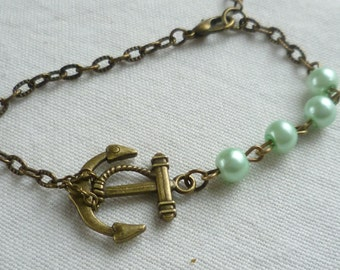 Anchor bracelet,anchor jewellery,gift,handmade,nautical jewelry,bronze anchor,beaded bracelet