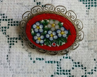 Lovely Micro mosaic red brooch. Perfect gift!