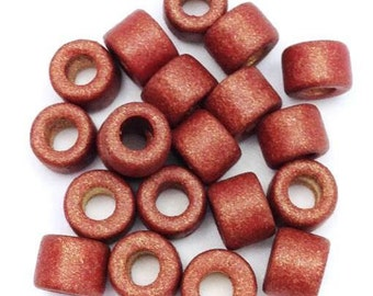 20 ceramic cylinder, reddish-brown metallic, round 6 mm, 20 pieces, ceramic beads, beads, ceramic beads tubes, beads, greek, mykonos beads