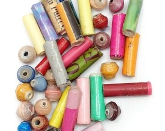 Mix, pastel, 5-16 mm, 37 pieces, paper beads, beads recycled, recycling, mix