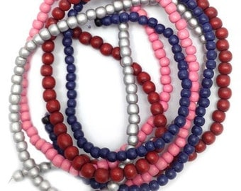 Beaded mix silver red blue, 5-6 mm, 4 strands,.