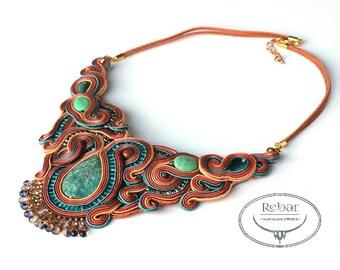 Earth Tones Necklace, Amazonite Necklace,  Unique Big Necklace, Soutache Necklace, Soutache Jewelry, Beadwork Necklace, Collana Soutache,