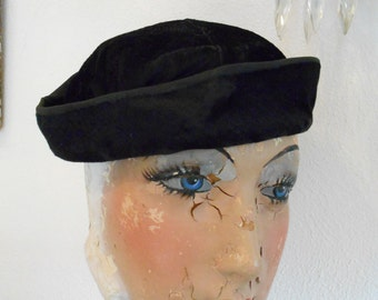 Black Valour/Velvet 1930's Slouch Hat with NRA Label