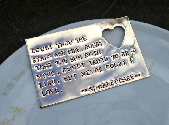 Shakespeare Quote Wallet Insert Bronze Wallet By