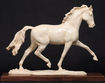 The Contender 2/9 - Porcelain - Walnut base - A young trotting dressage horse - High fired, multiple glazes