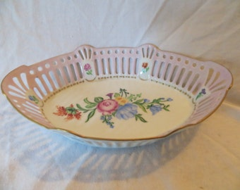 Hand Painted Filigree Candy Dish