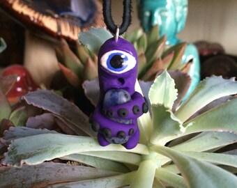 Alien Necklace - Purple Alien Sodalite Polymer Clay Pendant - Alien Pendant Sodalite Crystal Keeper Alien Necklace Pendant Handmade