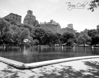 Central Park Sailboat Pond Black and White Photography Print