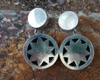 Brenda Schoenfeld Taxco Silver Sterling Silver Hollow Star Clip On Earrings
