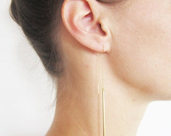 GOLDEN earrings rod