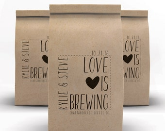 Coffee Bags, Wedding Favor, Coffee Favors, Coffee Cups, Kraft Favor Bags, Coffee, Tin Tie Bags, Wedding Welcome Bags
