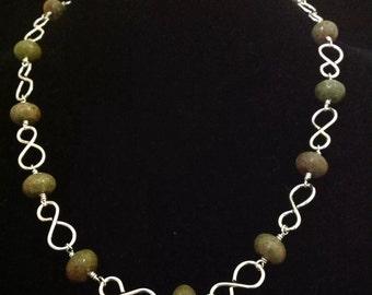 Jasper infinity necklace.