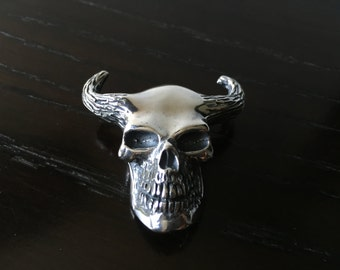 Mens .925 Sterling Silver Minotaur Skull Pendant Handmade.