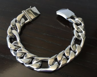 Mens .925 Sterling Silver Thick and Heavy Three by One  chain link bracelet handmade, Cartier style