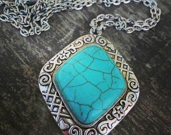 Nostalgia, Turquoise Howlite Silver Pendant necklace, Boho, Vintage style, Bohemian, PN3