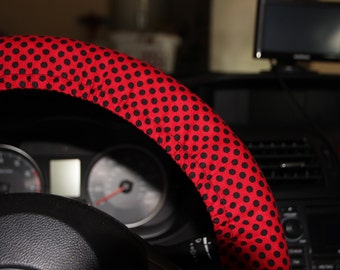 Red and Black Polka Dots Steering wheel cover -Women's wheel cover - Red and Black wheel cover - Car Accessories .