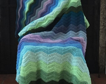 Seafarer's Raised Chevron Acrylic Crochet Afghan Blanket Throw Aqua Teal Green Blue Purple Colorful