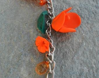 Orange flowers in a chain
