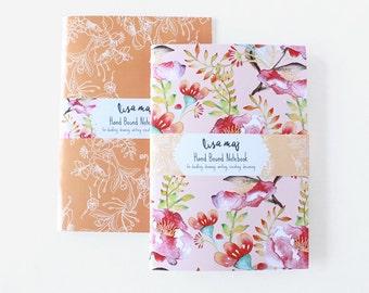 Handbound Notebook Pair - Charcoal Florals