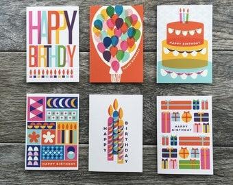 Birthday Card Set, Retro Birthday, Colorful Birthday Cards