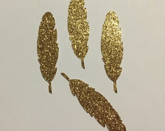 Boho Feather Seals - Large Sparkly Glamour Gold Glitter Feather Envelope Seals For Wedding And Events - Sweet Love stickers x 25 Feathers