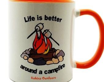 Camping Coffee Mug, Camping Mugs, Orange Mugs, Campfire Mugs, Orange Coffee Mugs, Orange Mug, Orange Camping Mug, Camp Mug