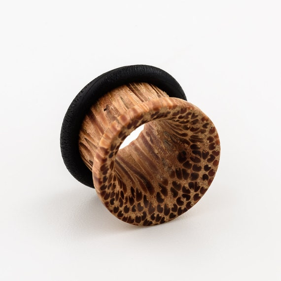 """Coconut Wood 14mm-9/16"""" ear tunnel. The design is available in 4mm-14mm."""