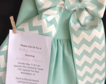 Chevron Baby Dress Girl Shower Invitations, Baby Sprinkle Invitations, Unique  Shower Boxed Invitation
