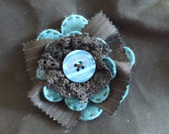 Dark Teal and Black Brooch