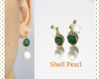 Emerald Glass Stone Rhinestone Clip on earring |15| White Pearl Wedding Clip on earring Bridal Clip On earring non pierced dangle earring