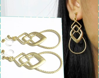 Matte Gold Plate 'clip on earring' R5MG Modern Geometric dangle earring invisible wedding clip on earring non pierced earring drop earring