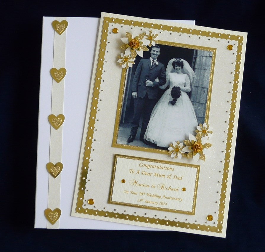 50th Golden Wedding Anniversary Card With Photo Personalised