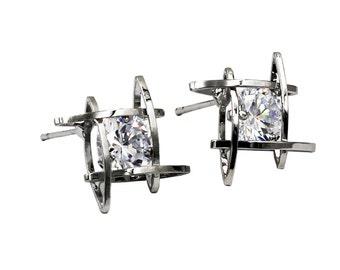 Fashion plaid Crystal Silver Earrings